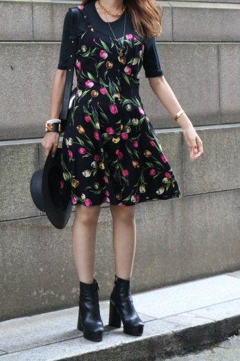 【vintage】90's front button down floral camisole dress