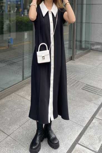 long point collar tweed like piping tuck dress / black