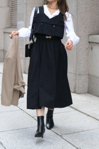 waist shirring trench like sleeveless flare dress / black