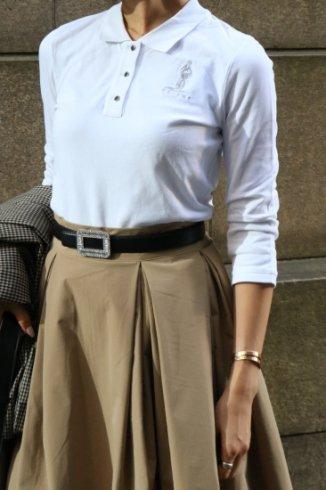 【vintage】CELINE / cut away collar logo embroidery polo shirt