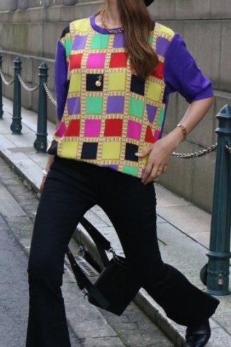 【vintage】CELINE / Macadam button chain motif multi color check knit tops