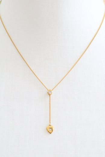 <img class='new_mark_img1' src='https://img.shop-pro.jp/img/new/icons14.gif' style='border:none;display:inline;margin:0px;padding:0px;width:auto;' />【vintage】Christian Dior / swing heart charm rhinestone necklace