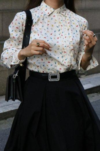 【vintage】short point collar front pleats multi color dot blouse