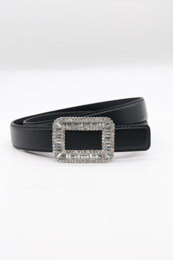 rhinestone square buckle leather belt