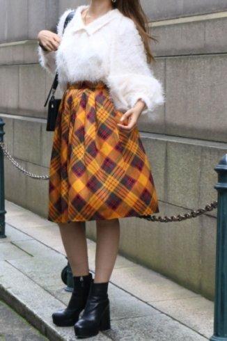 【vintage】Yves Saint Laurent / check pattern silk flare skirt