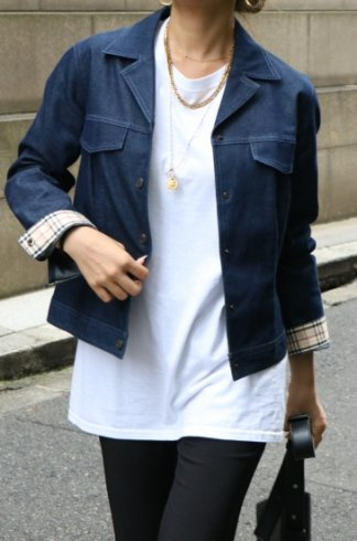 <img class='new_mark_img1' src='https://img.shop-pro.jp/img/new/icons14.gif' style='border:none;display:inline;margin:0px;padding:0px;width:auto;' />【USED】BURBERRY / open collar check lining denim jacket