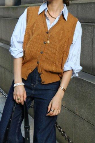 【vintage】Christian Dior / V neck cable knit vest