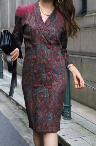 【vintage】shawl collar double breasted paisley pattern dress