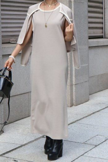 <img class='new_mark_img1' src='https://img.shop-pro.jp/img/new/icons14.gif' style='border:none;display:inline;margin:0px;padding:0px;width:auto;' />no collar cardigan & sleeveless long dress bicolor knit set up / beige