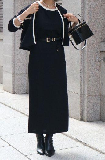 <img class='new_mark_img1' src='https://img.shop-pro.jp/img/new/icons14.gif' style='border:none;display:inline;margin:0px;padding:0px;width:auto;' />no collar cardigan & sleeveless long dress bicolor knit set up / black