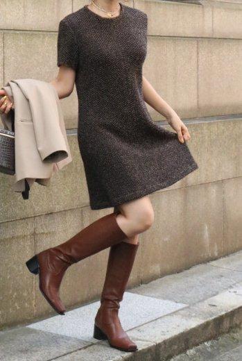 <img class='new_mark_img1' src='https://img.shop-pro.jp/img/new/icons14.gif' style='border:none;display:inline;margin:0px;padding:0px;width:auto;' />【vintage】CELINE / herringbone pattern short sleeve mohair knit dress