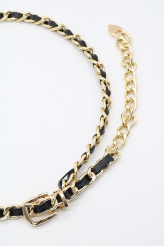 fake leather combination chain belt