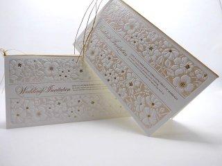 結婚式 招待状 手作り用紙キット フィオラ(ホワイト・ピンク)