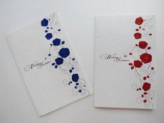 結婚式 招待状 手作り用紙キット ノーブルローズ(ブルー・レッド)