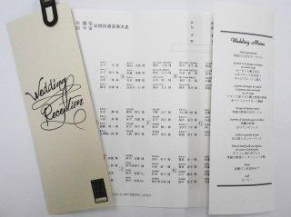 結婚披露宴  メニュー表付席次表 印刷込み100セット(お好きな印刷用紙をお選びいただけます)