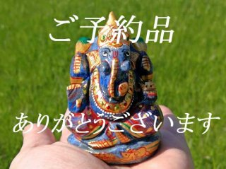 【I様ご予約品・1点もの!期間限定 送料無料!ガネーシャ神像・ラピスラズリ7】天然石彫刻置物・スタチュー・インドの神様・商売繁盛・学問の神様・パワーストーン