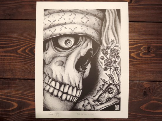 "ST TATTOO STUDIO Jason Brown ""Dia De Los Cycos"" Original Art Print Poster"