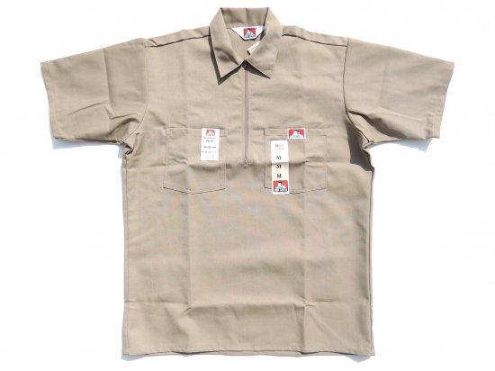 BEN DAVIS ベンデイビス Short Sleeved Solid 1/2 ZIP ハーフジップワークシャツ KHAKI