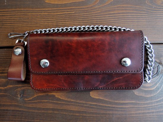 LEATHER  8INCH CHAIN WALLET  チェーンつき 8インチ ロングウォレット ブラウン USA製