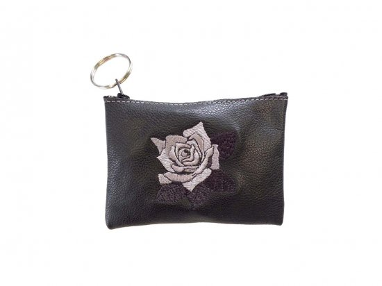 LEATHER EMBROIDERED ROSE COIN PURSE  本革 レザー 刺繍ローズポーチ BLACK  USA製