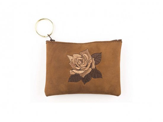 LEATHER EMBROIDERED ROSE COIN PURSE  本皮 レザー  刺繍ローズポーチ CAMEL BROWN  USA製
