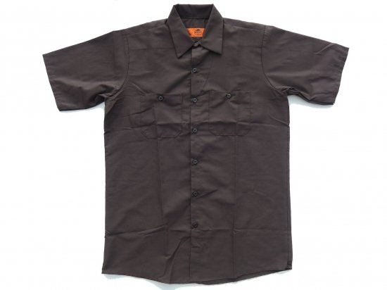 <img class='new_mark_img1' src='https://img.shop-pro.jp/img/new/icons53.gif' style='border:none;display:inline;margin:0px;padding:0px;width:auto;' />RED KAP SHORT SLEEVE INDUSTRIAL WORK SHIRT レッドキャップ 半袖ワークシャツ SP24  CHOCOLATE