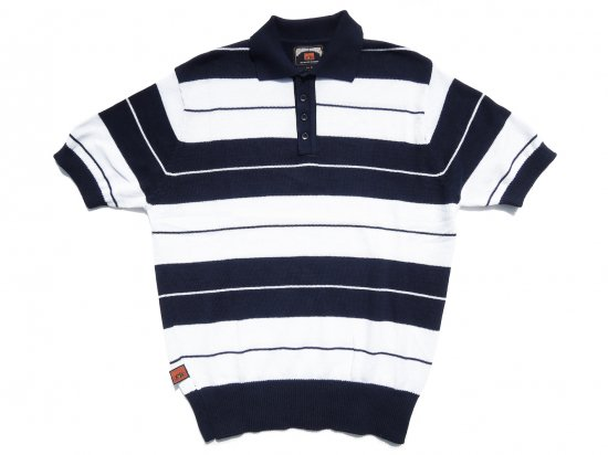 FB COUNTY  Charlie Brown Shirt ニットポロシャツ NAVY x WHITE