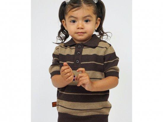 FB COUNTY  KIDS Charlie Brown Shirt ニットポロシャツ  BROWN x TAN