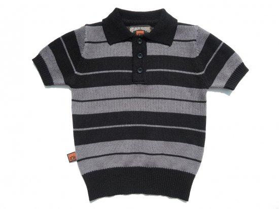 FB COUNTY  KIDS Charlie Brown Shirt ニットポロシャツ  BLACK x GRAY