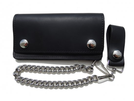 OIL TANNED LEATHER  6INCH CHAIN  WALLET  チェーンつき 6インチ ロングウォレット オイルタン BLACK  USA製