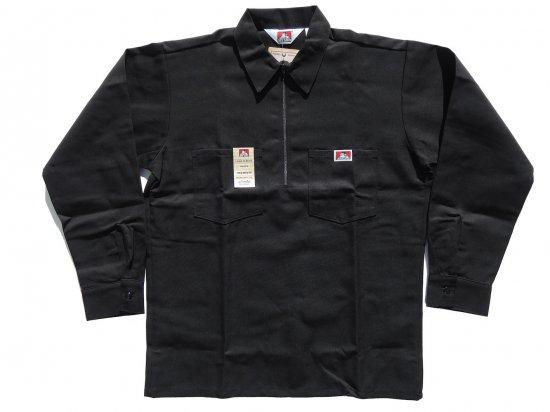 BEN DAVIS ベンデイビス Long  Sleeved Solid 1/2 ZIP ハーフジップワークシャツ 長袖 1/2 Zip Solid ブラック