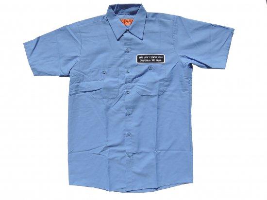 Hard Luck x Pinche  Loco Original  Short Sleeve Work Shirt BLUE ハードラックxピンチェロコオリジナル ワークシャツ