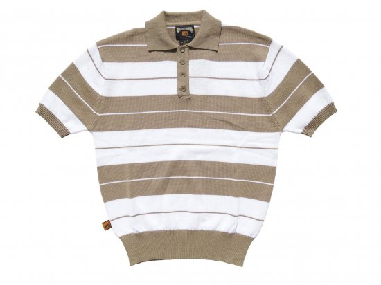FB COUNTY  Charlie Brown Shirt ニットポロシャツ TAN x WHITE