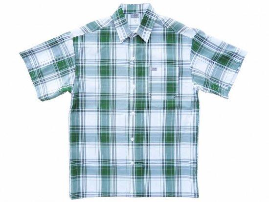 CalTop キャルトップ Short Sleeve White Base Plaid Shirt WHITE x GREEN