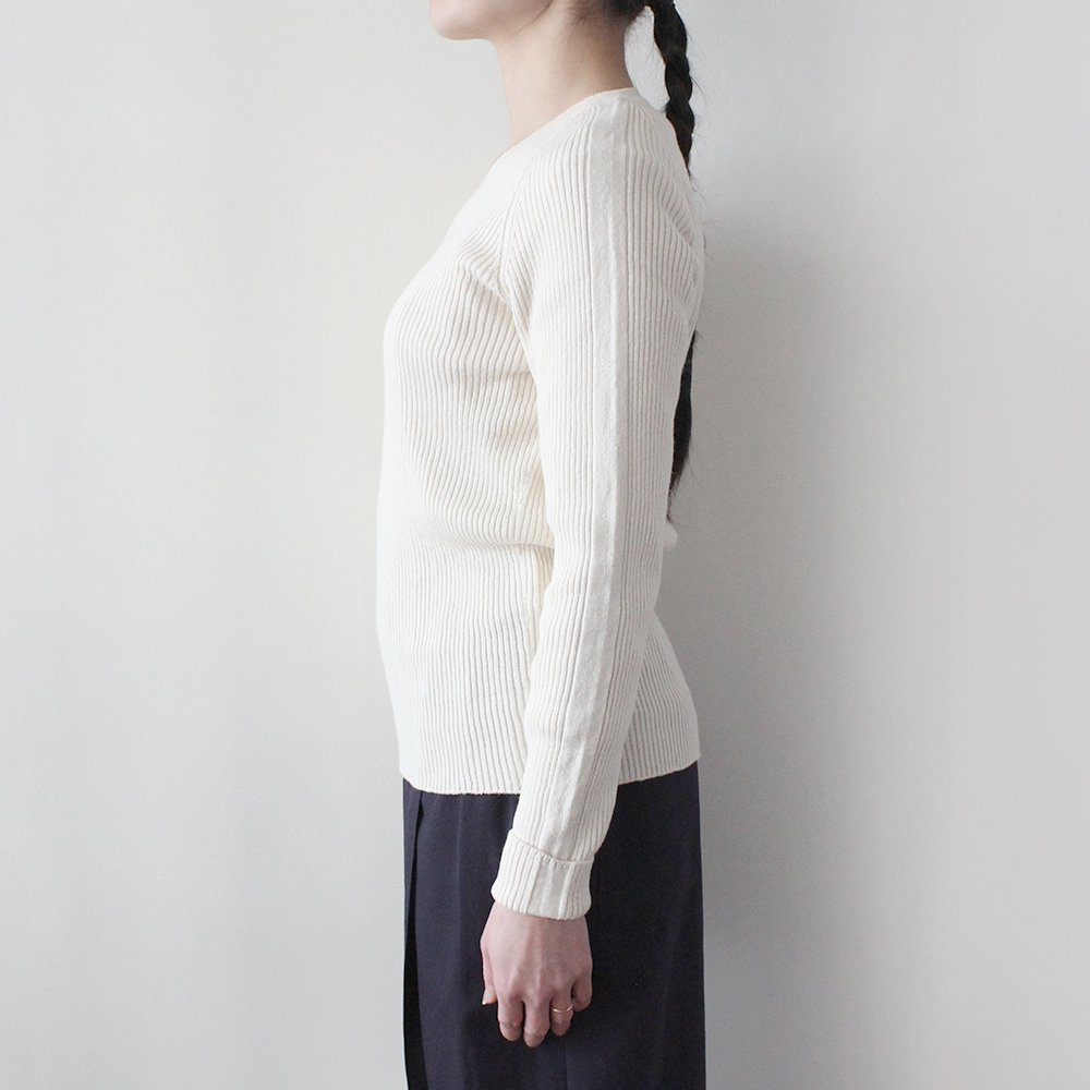 無縫製Vネック リブ編みセーター / オーガニックコットン
