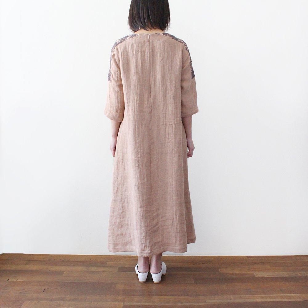 【 限定販売 】リネンダブルガーゼ レース付きワンピース