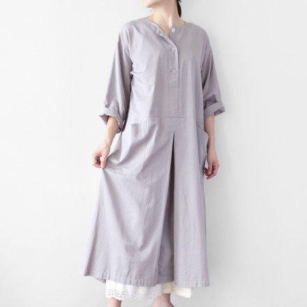 綿サテン デザインワンピース / オーガニックコットン