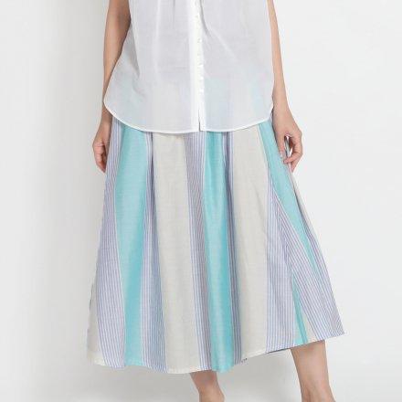 綿サテン×ストライプリネン 2枚組みリバーシブルスカート / オーガニックコットン