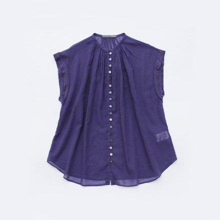 ループボタンフレンチ袖 極薄ブラウス  / オーガニックコットン