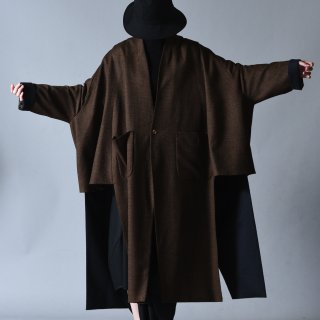 Ka na ta 2 sleeve coat brown × navy