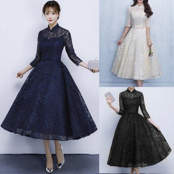 20代 上品で大人可愛い総レースミモレ丈ドレス 大きいサイズ