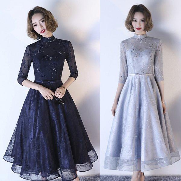 パーティードレス ロングドレス マキシ丈 お姫様のように可愛くて上品なミモレ丈ドレス 大きいサイズ 演奏会