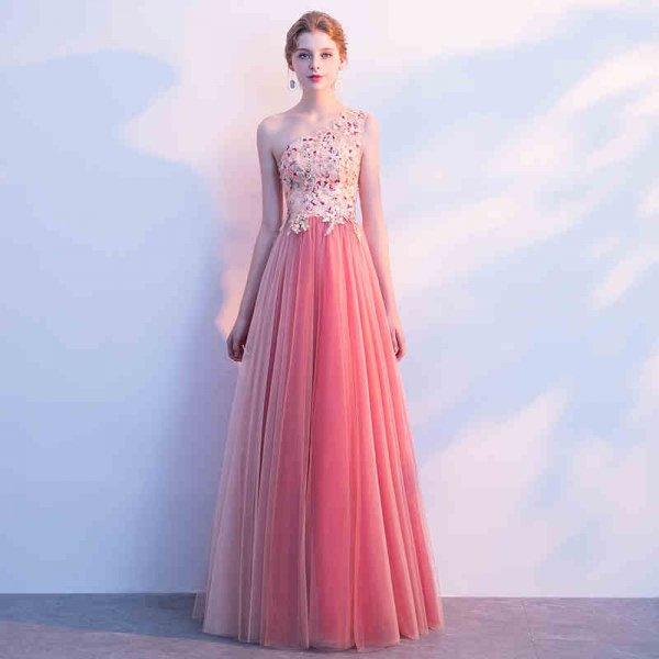 パーティードレス ロングドレス マキシ丈 お姫様のように可愛いピンクのワンショルダー上品ロング丈ドレス 演奏会