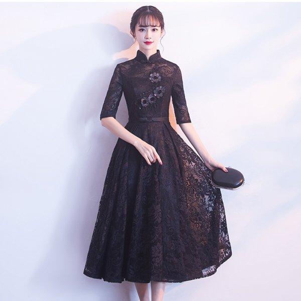 20代 結婚式のお呼ばれにもおすすめアジアンテイスト風総レースひざ丈ドレス 大きいサイズ