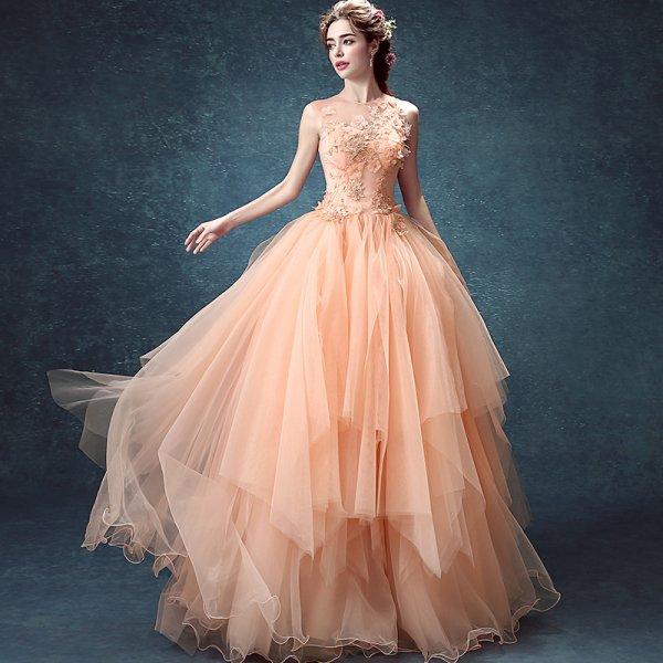 パーティードレス ロングドレス マキシ丈 繊細なデザインが上品で可愛いサーモンピンクのロング丈ドレス 大きいサイズ 演奏会