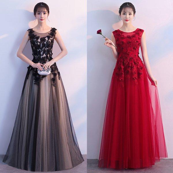 パーティードレス ロングドレス マキシ丈 大人可愛く上品なローズ柄ロング丈ドレス 大きいサイズ 演奏会