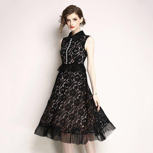 フラワーレース&裾とウエストのフリル&ビジューがエレガントなミモレ丈Aラインパーティードレス 大きいサイズ
