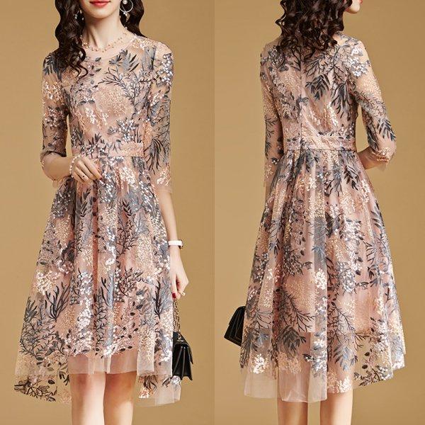 パーティードレス 結婚式 二次会 ワンピース 結婚式ドレス お呼ばれワンピース 20代 30代 40代 袖あり 膝丈 ピンク 刺繍 大きいサイズ