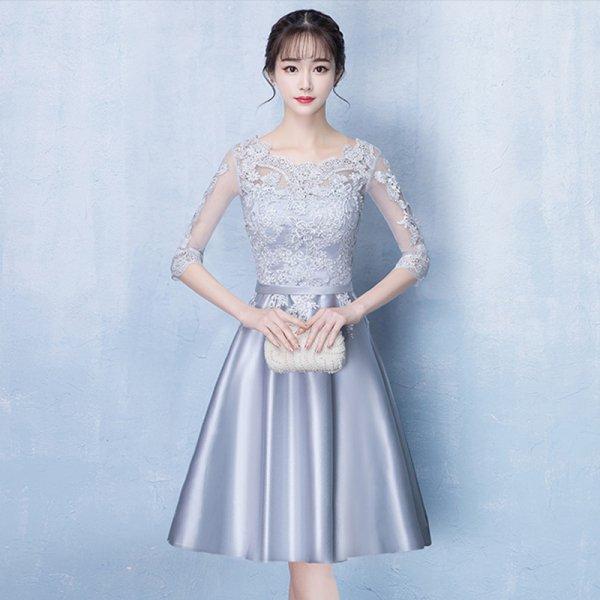 パーティードレス 結婚式 二次会 ワンピース 結婚式ドレス お呼ばれワンピース 20代 30代 40代 袖あり ひざ丈 レース 花柄 大きいサイズ
