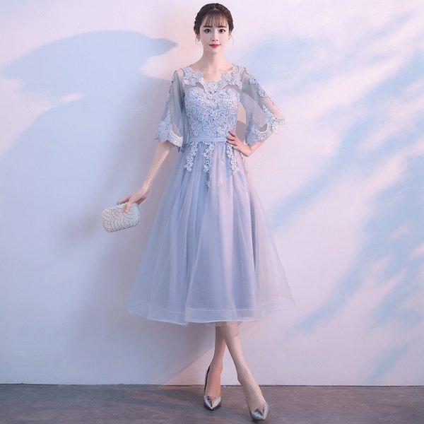 パーティードレス 結婚式 二次会 ワンピース 結婚式ドレス お呼ばれワンピース 20代 30代 40代 袖あり ミモレ丈 ブルー レース  花柄 大きいサイズ